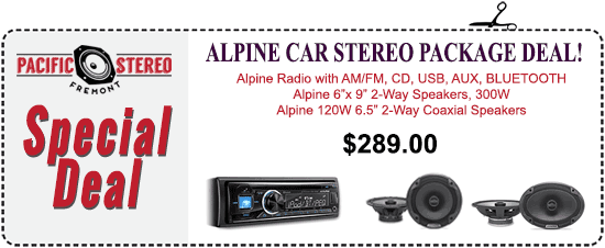 Alpine Car Stereo Package Deal - Alpine Radio with AM/FM, CD, USB, AUX, Bluetooth, Alpine 2-way 300W speakers plus Alpine 120W 2-way coaxial speakers - $289